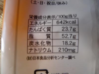 バタピーの栄養成分表示